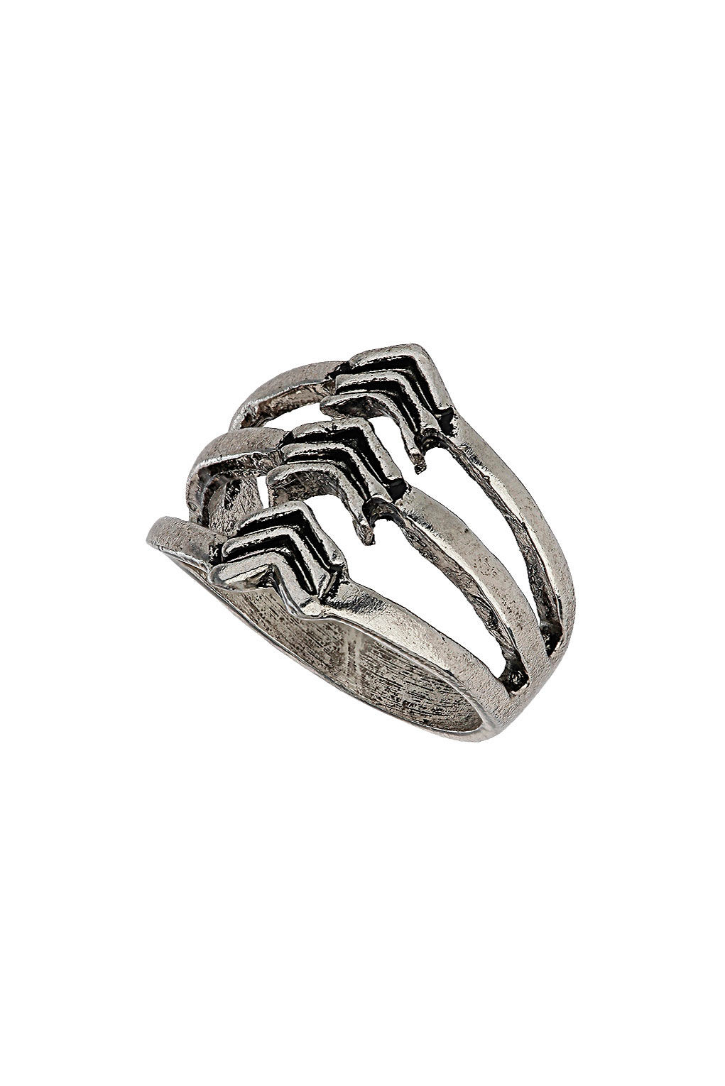 Topshop three band arrow ring in metallic lyst for Jewelry storm arrow ring