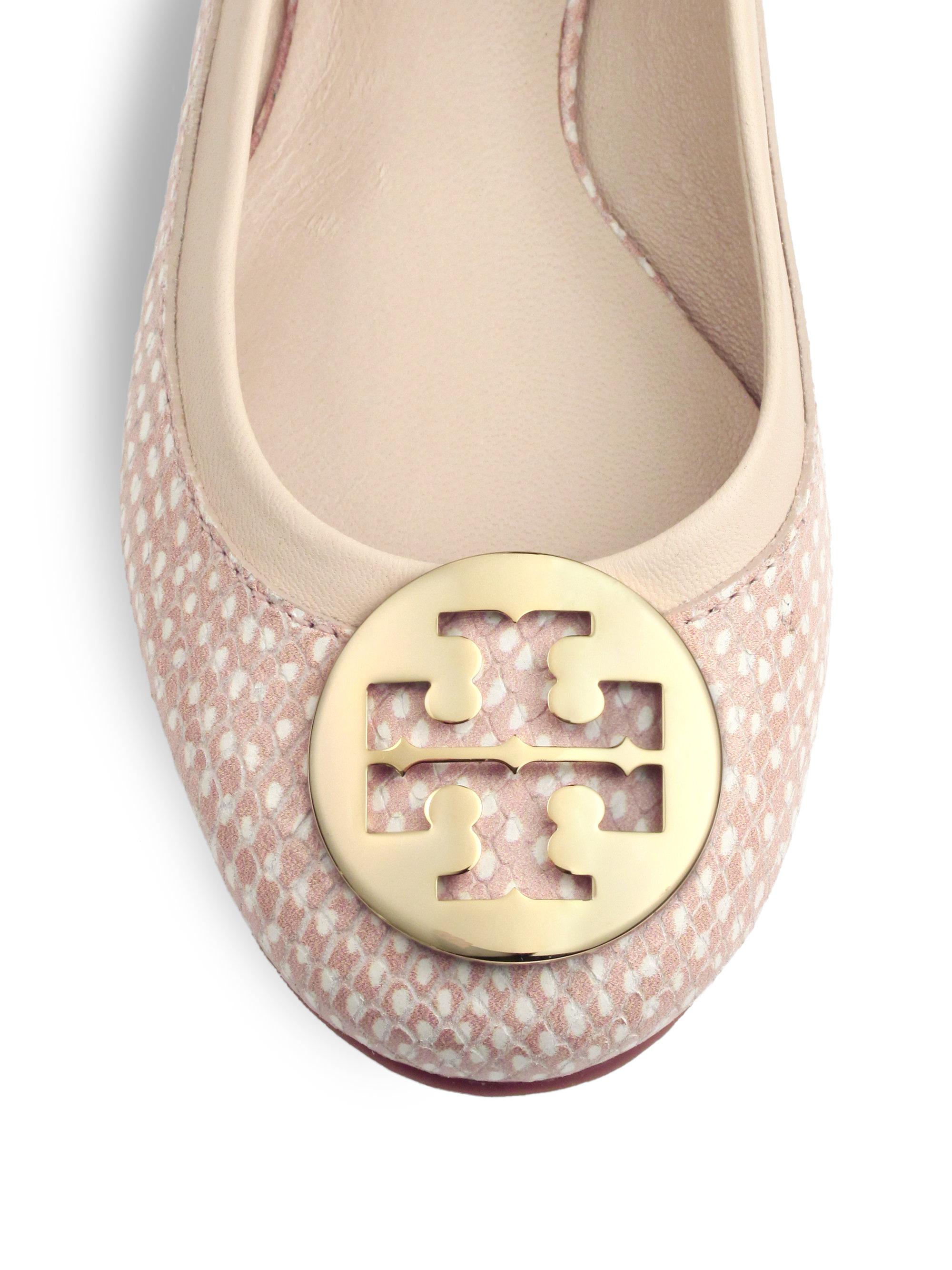 60ab1a9b9 Lyst - Tory Burch Reva Polka Dot Snakeskin Ballet Flats in Pink