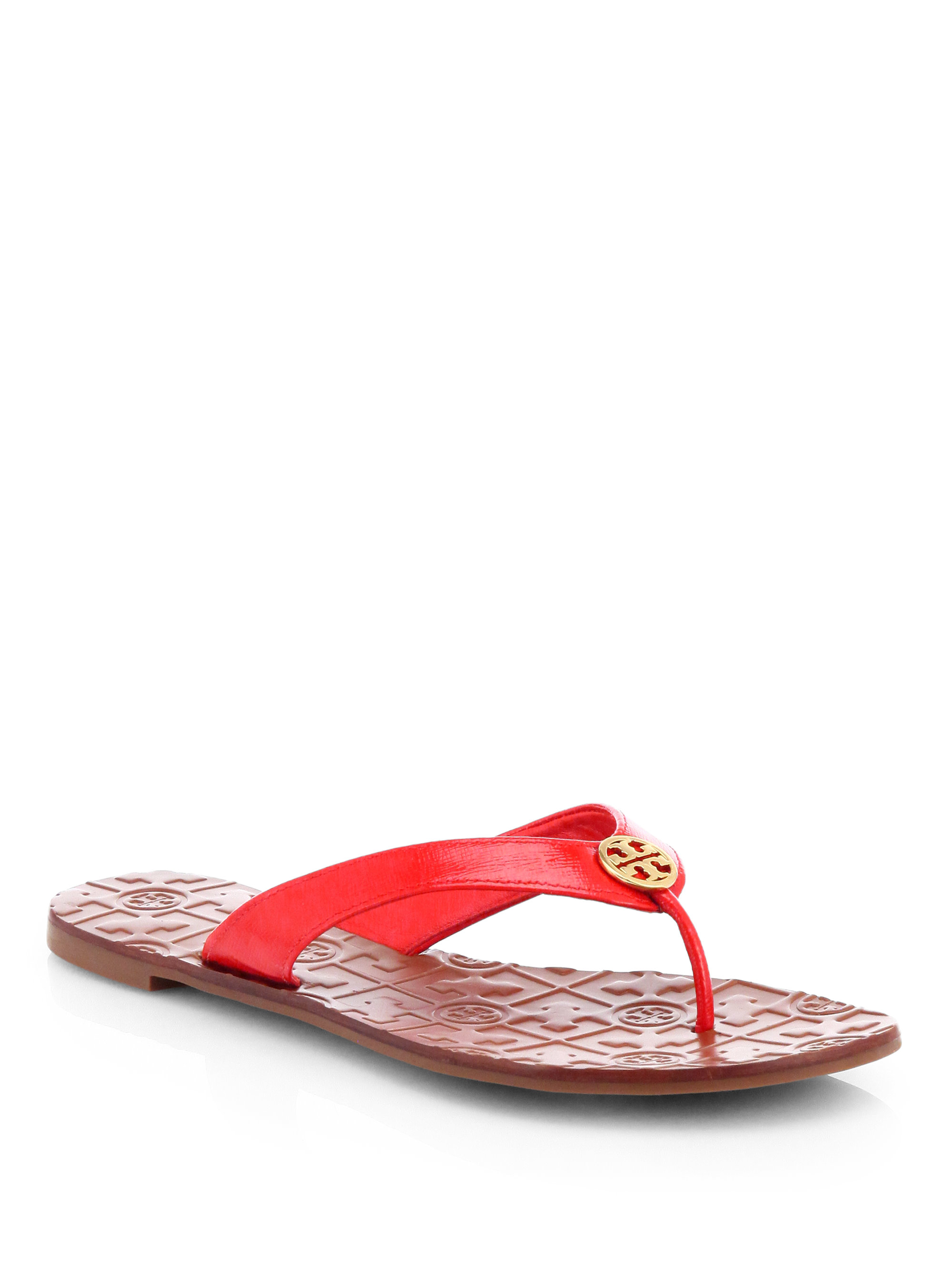 28d02a9e1465 ... metallic 2df96 365c9  order tory burch thora 2 patent leather thong  sandals in red lyst 00ab9 83ed1