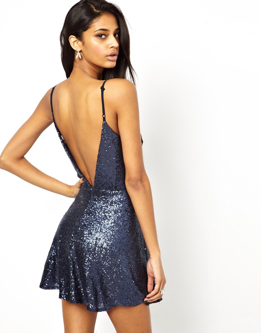 True decadence Sequin Low Back Cami Slip Dress in Blue  Lyst