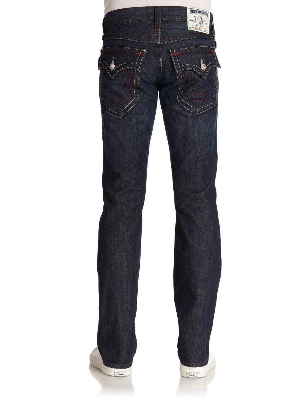true religion red stitched straightleg jeans in blue for