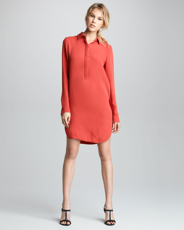 Lyst Vince Longsleeve Silk Shirtdress In Red
