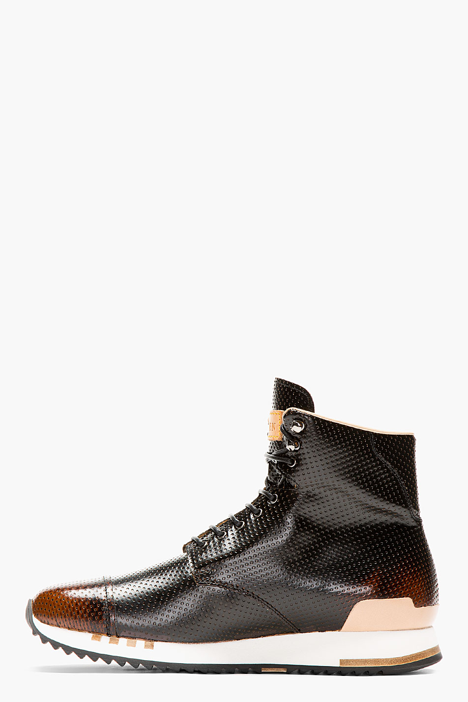 Alexander Mcqueen Black Punch Hole High Top Sneakers In
