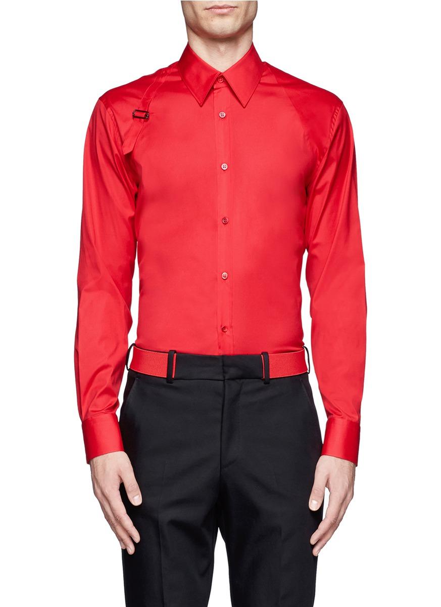 Lyst alexander mcqueen harness cotton shirt in red for men for Alexander mcqueen shirt men