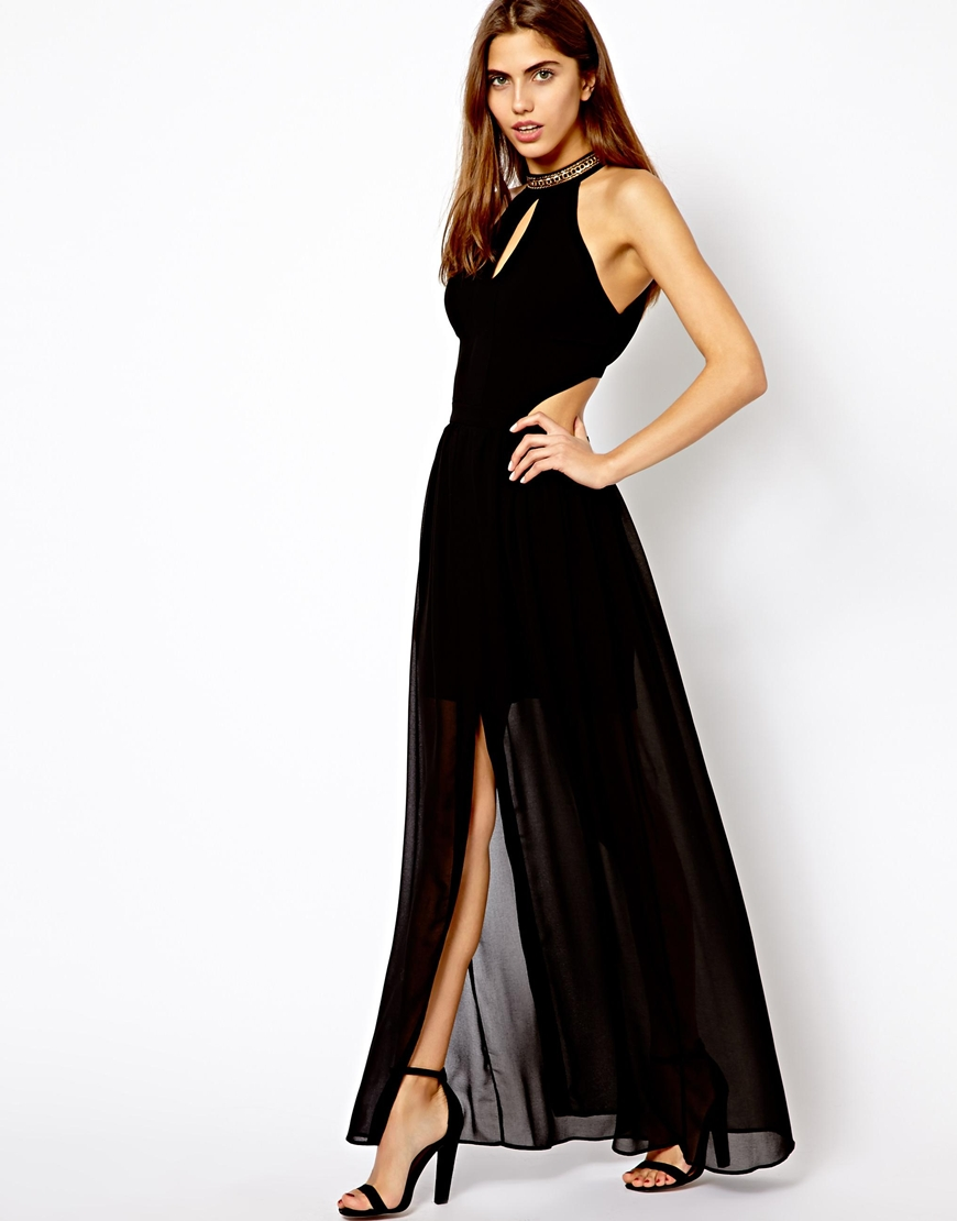Asos High Neck Cut Out Back Maxi Dress In Black Lyst