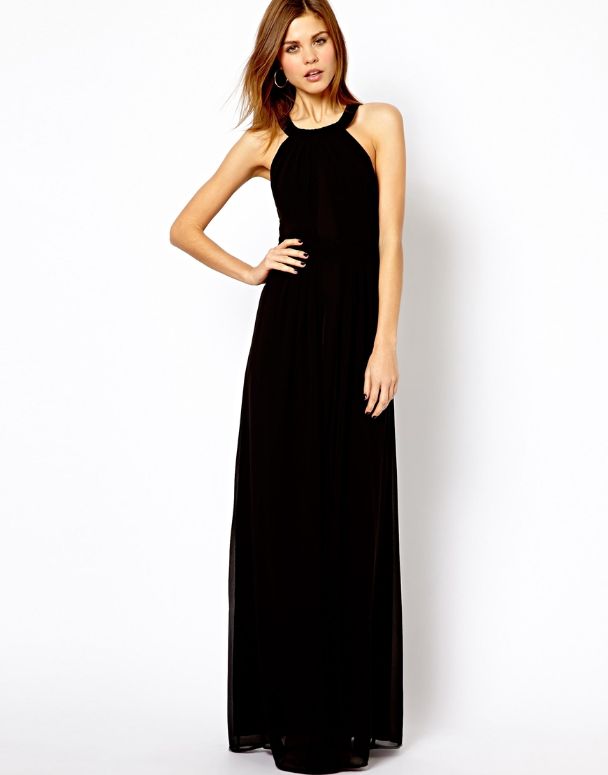 Asos Warehouse Strappy Back Detail Maxi Dress In Black Lyst