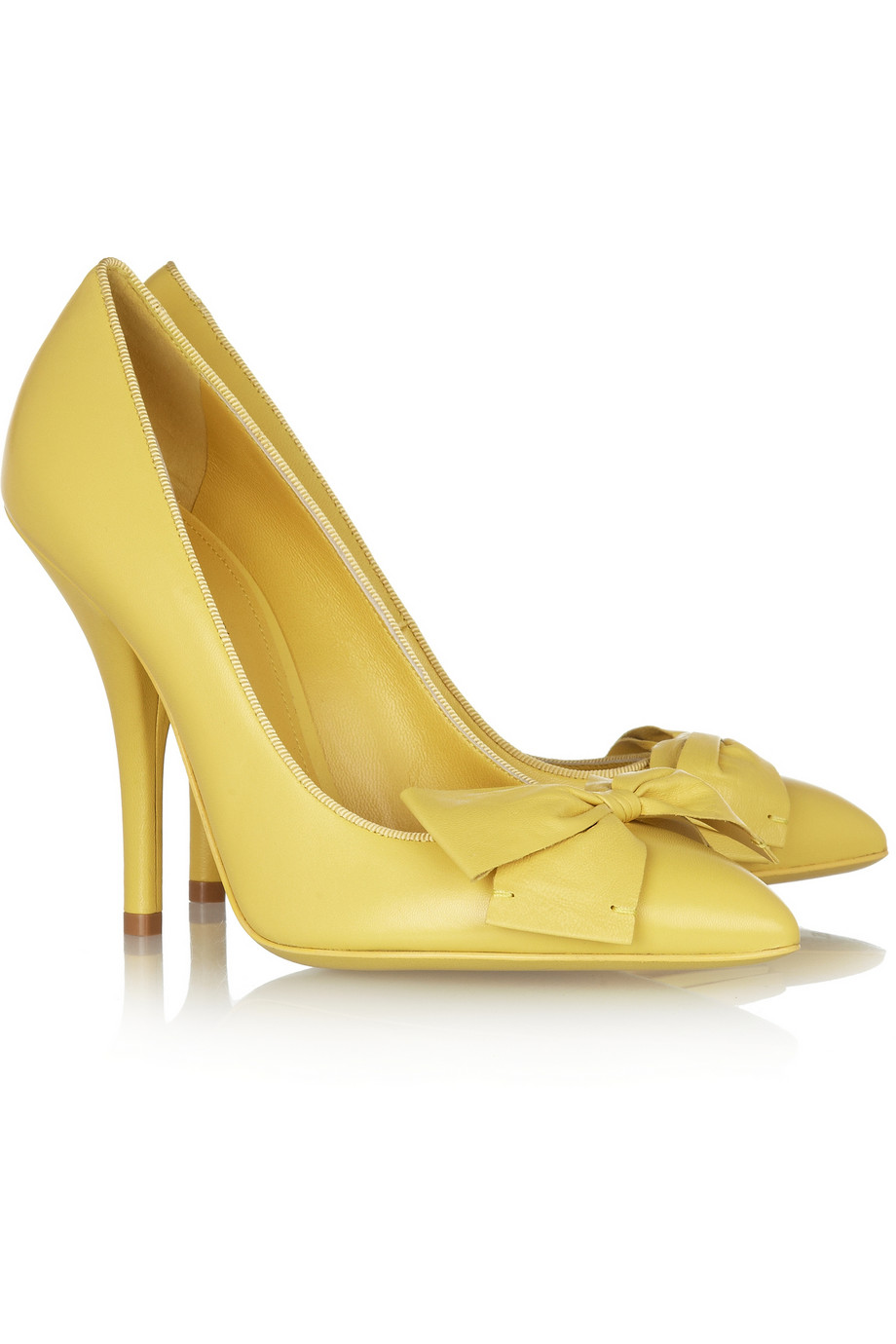 Bottega veneta Bow-embellished Leather Pumps in Yellow | Lyst