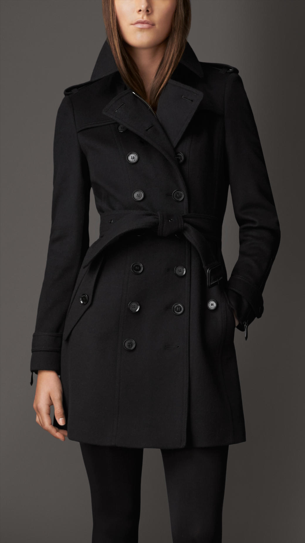 lyst burberry mid length zip detail wool cashmere trench. Black Bedroom Furniture Sets. Home Design Ideas