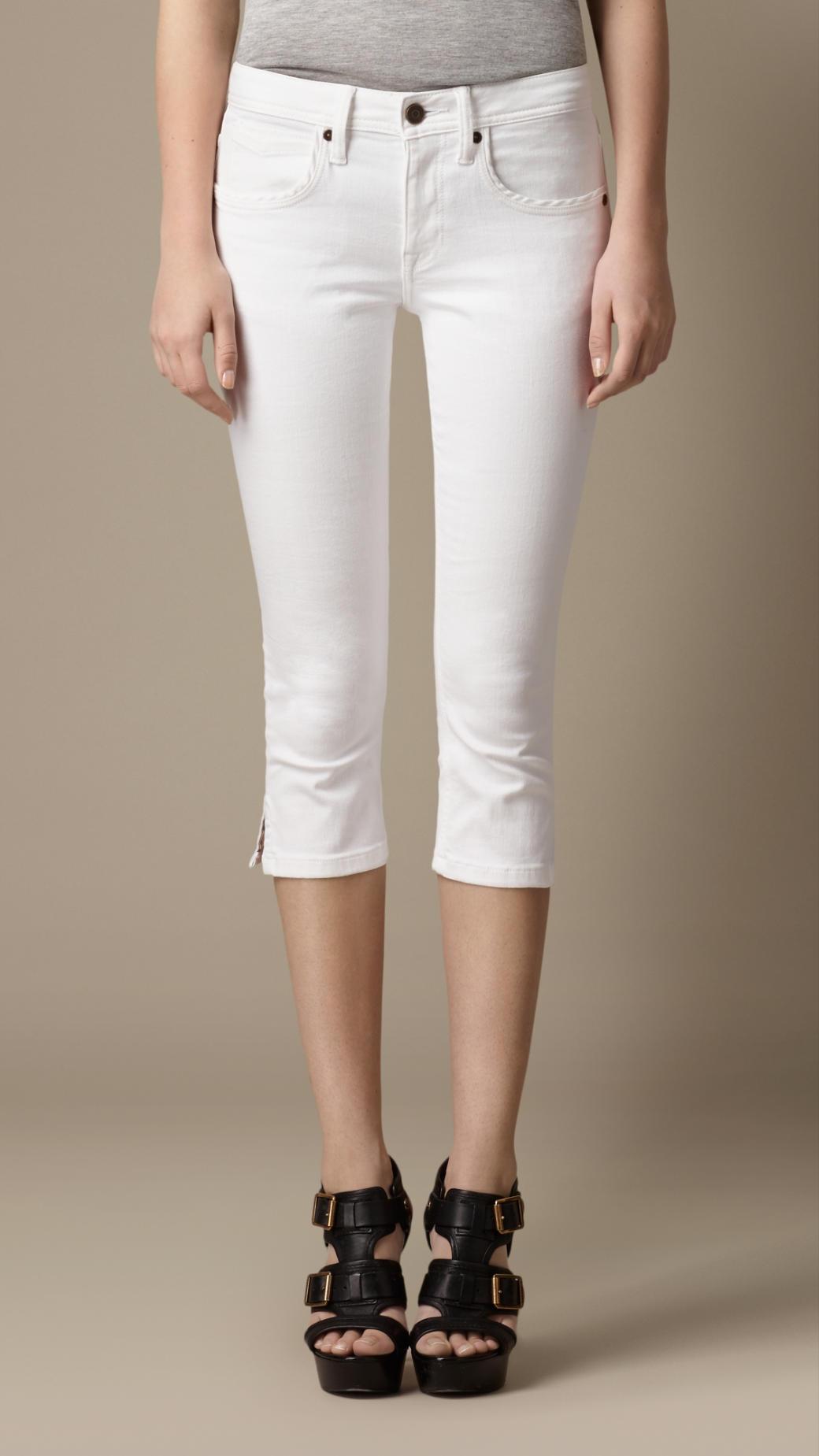Burberry Doverdale White Skinny Fit Capri Jeans in White | Lyst