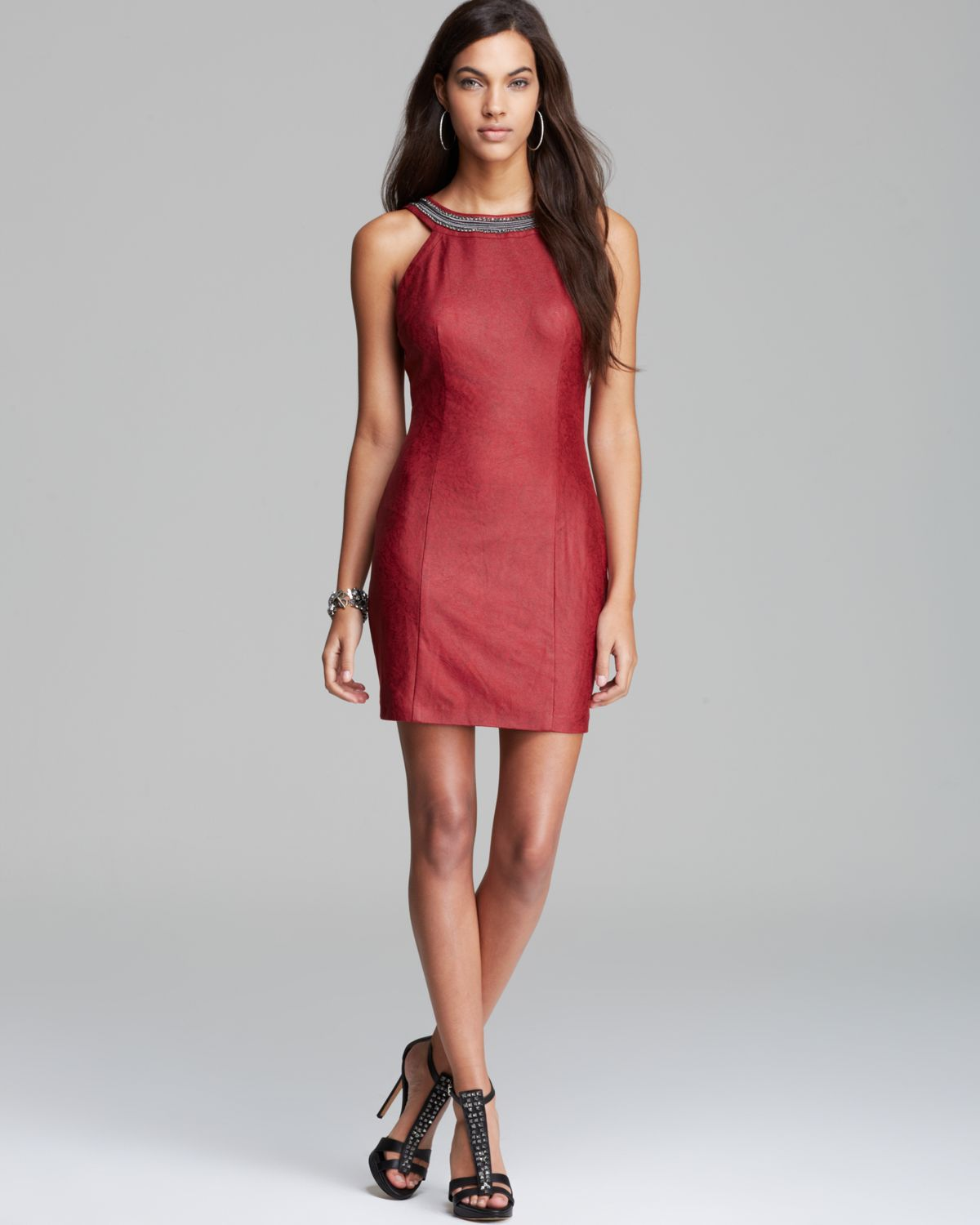 Guess Dress Embellished Faux Leather in Red | Lyst