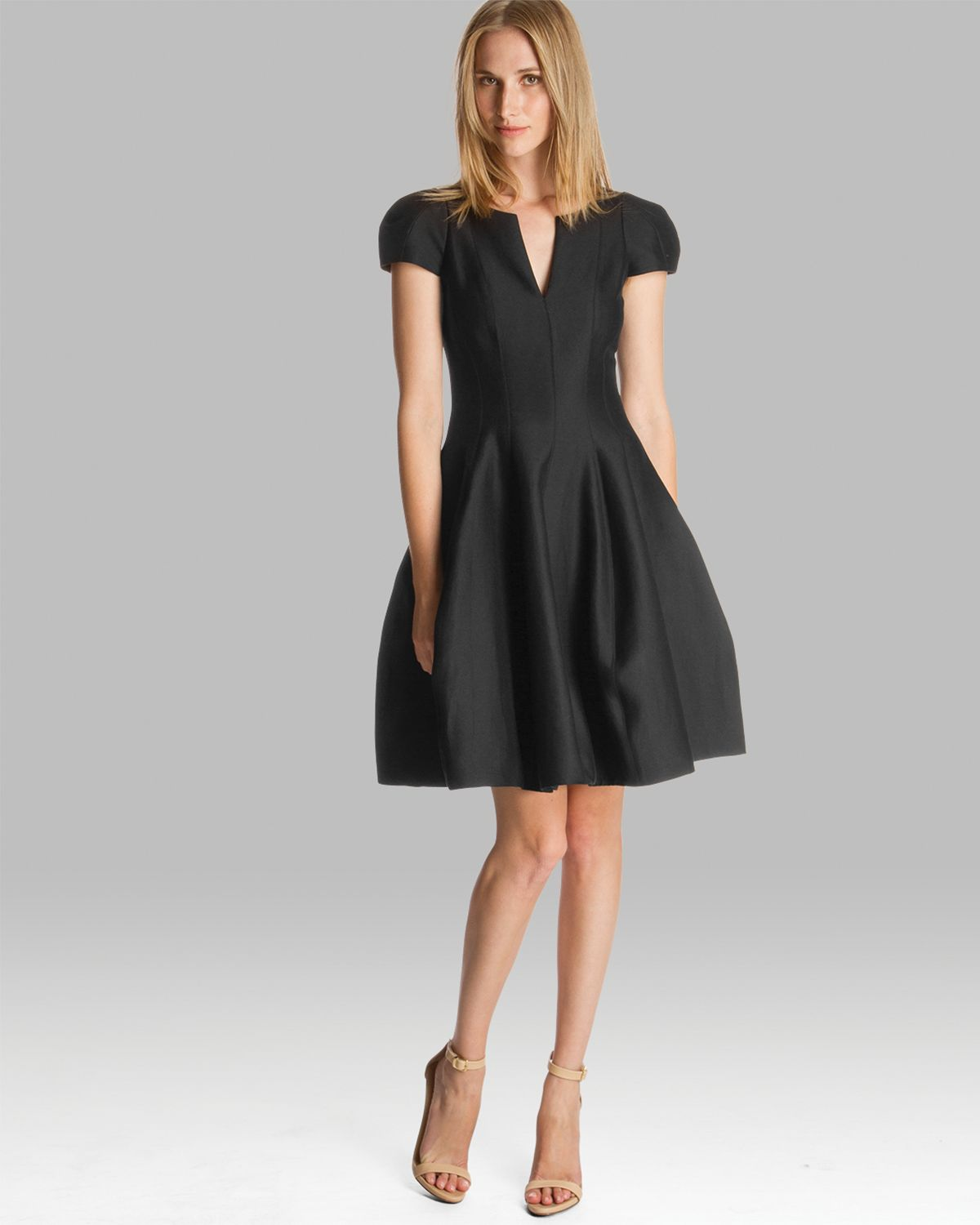 Halston dress short sleeve notched neck tulip skirt in for Halston heritage shirt dress