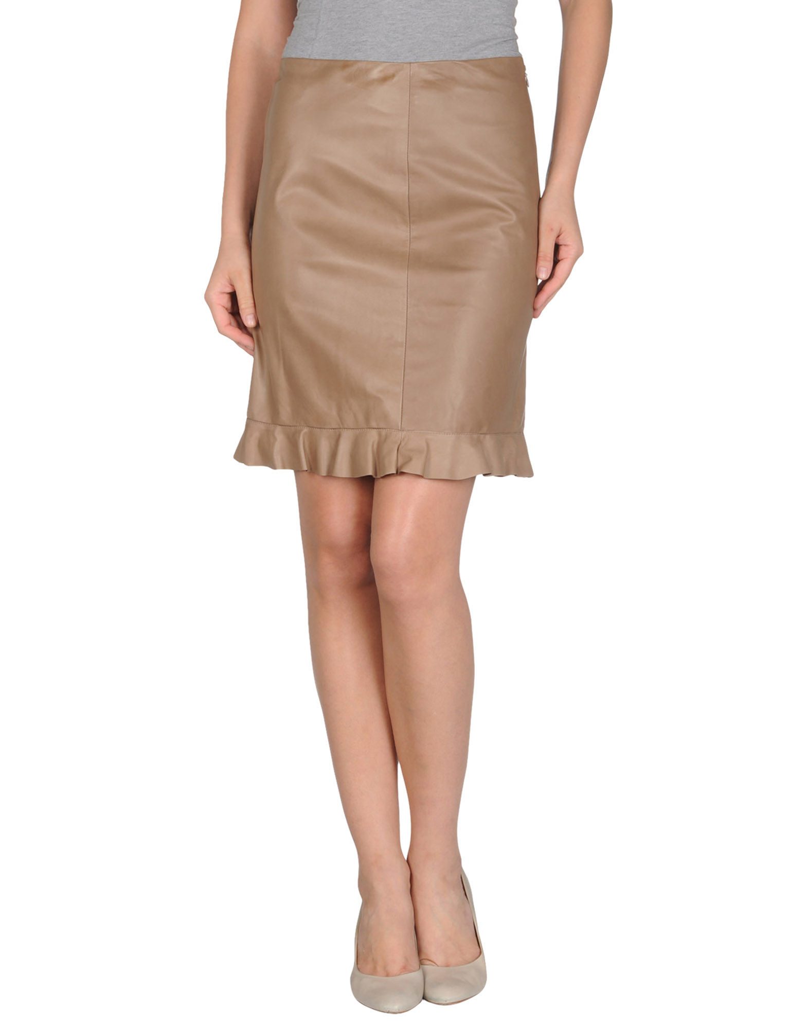jil sander navy leather skirts in brown light brown lyst