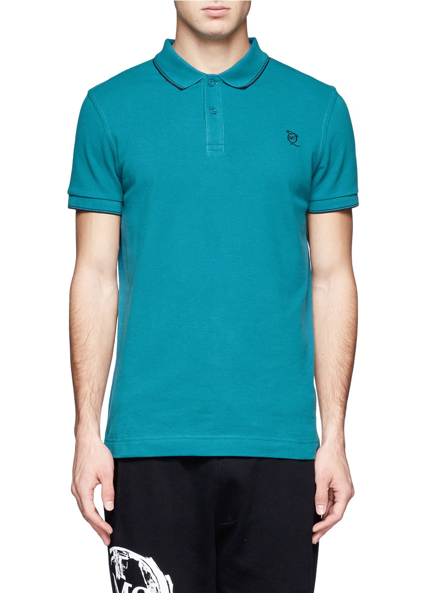 Lyst mcq logo embroidered cotton polo shirt in blue for men for Logo dress shirts no minimum