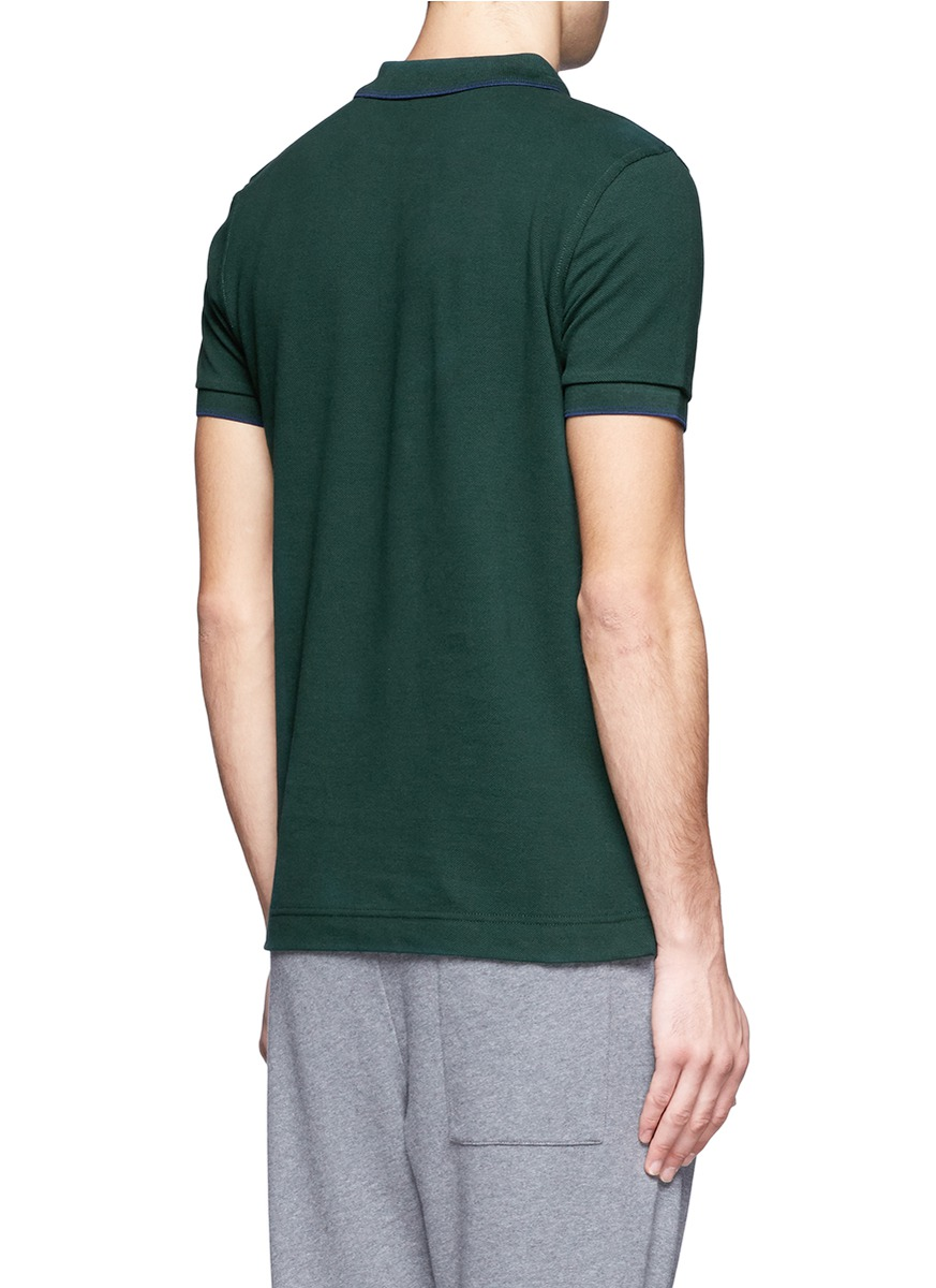 Mcq logo embroidered cotton polo shirt in green for men lyst for Cotton polo shirts with logo