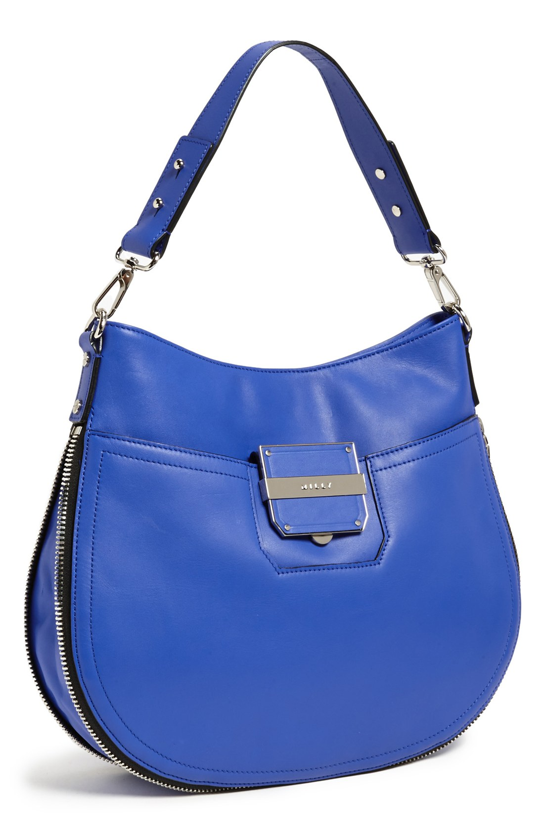 Milly Colby Leather Bucket Bag in Blue