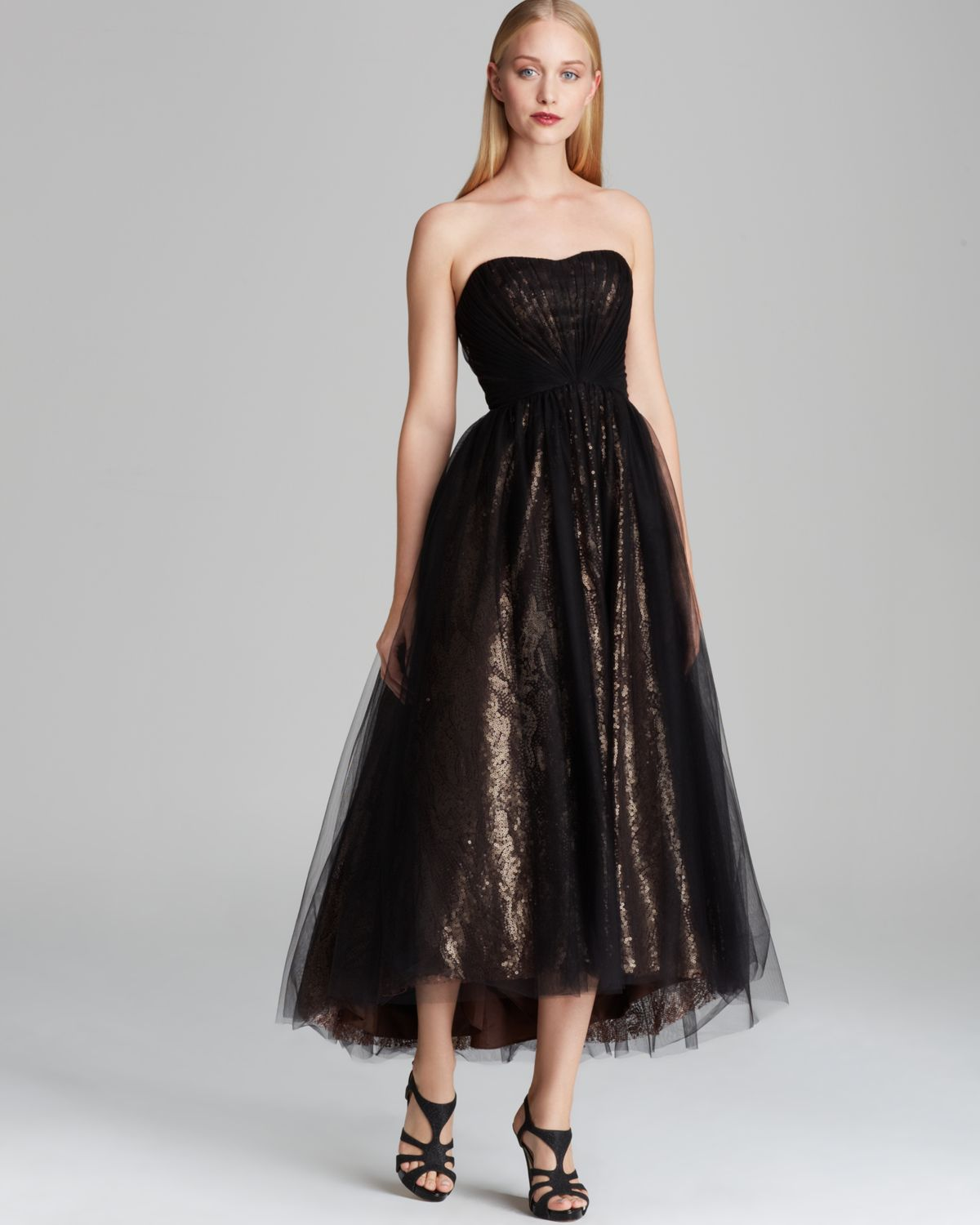 Lyst - Ml monique lhuillier Tealength Tulle Over Metallic Lace ...
