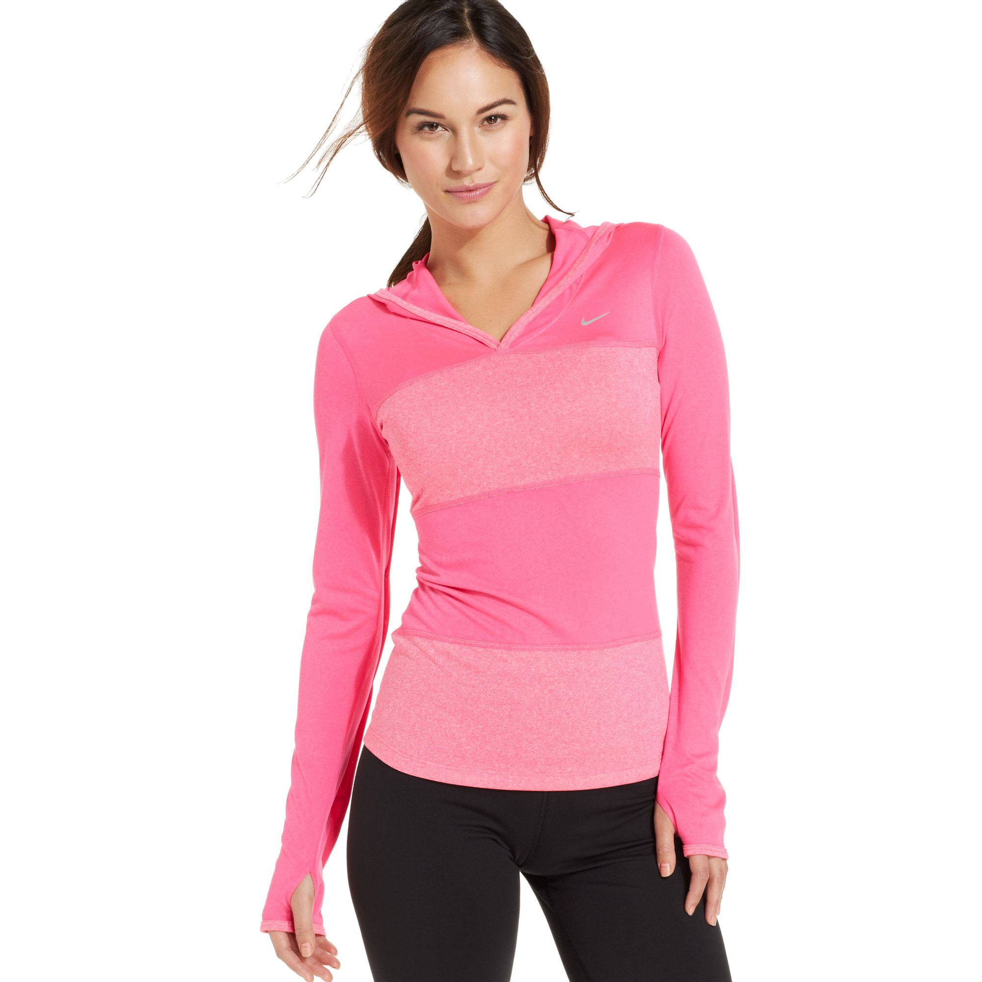 nike longsleeve colorblocked hooded pullover in pink lyst. Black Bedroom Furniture Sets. Home Design Ideas