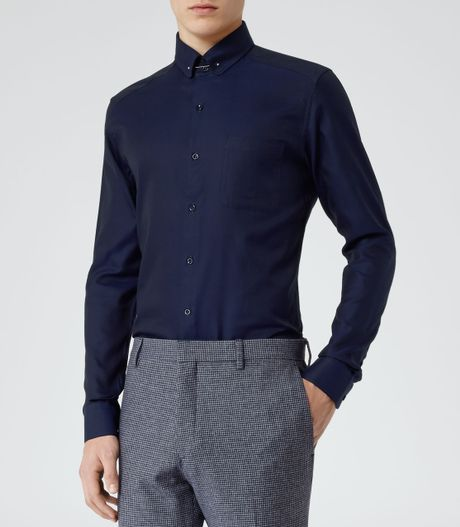 Reiss Keaton Shirt with Collar Bar in Blue for Men (NAVY ...