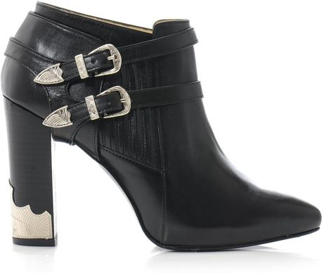 toga pulla buckle high heel ankle boots in black lyst