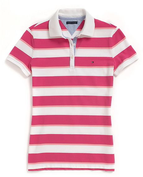 Tommy Hilfiger Rugby Stripe Polo In Pink Fuschia Purple