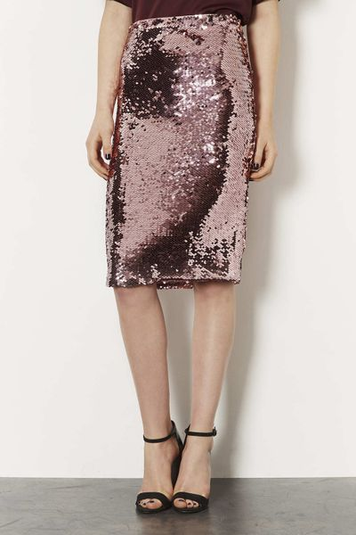 topshop pink sequin pencil skirt in pink lyst