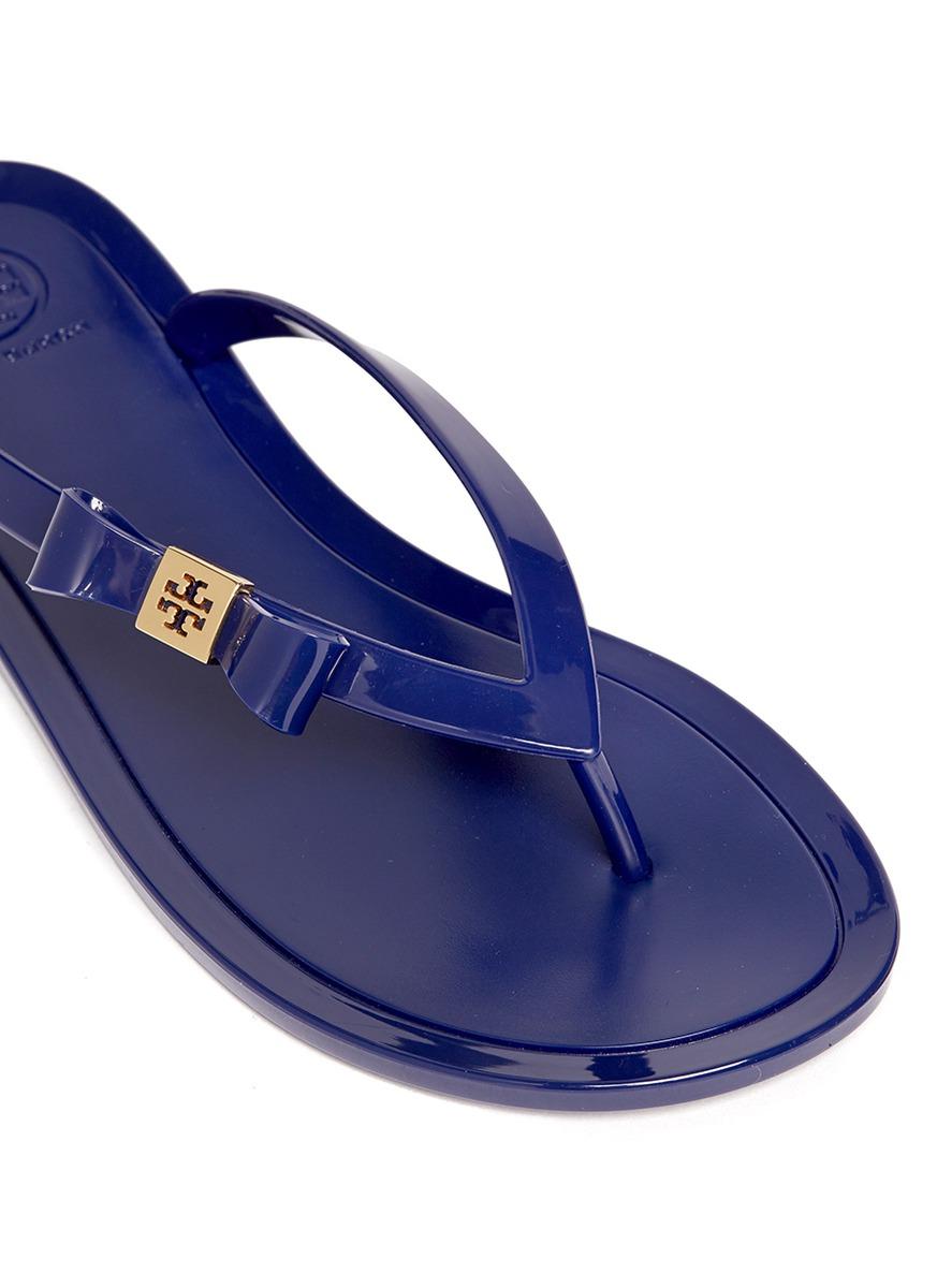 Tory Burch Michaela Bow Jelly Flip-Flops In Blue - Lyst-7558