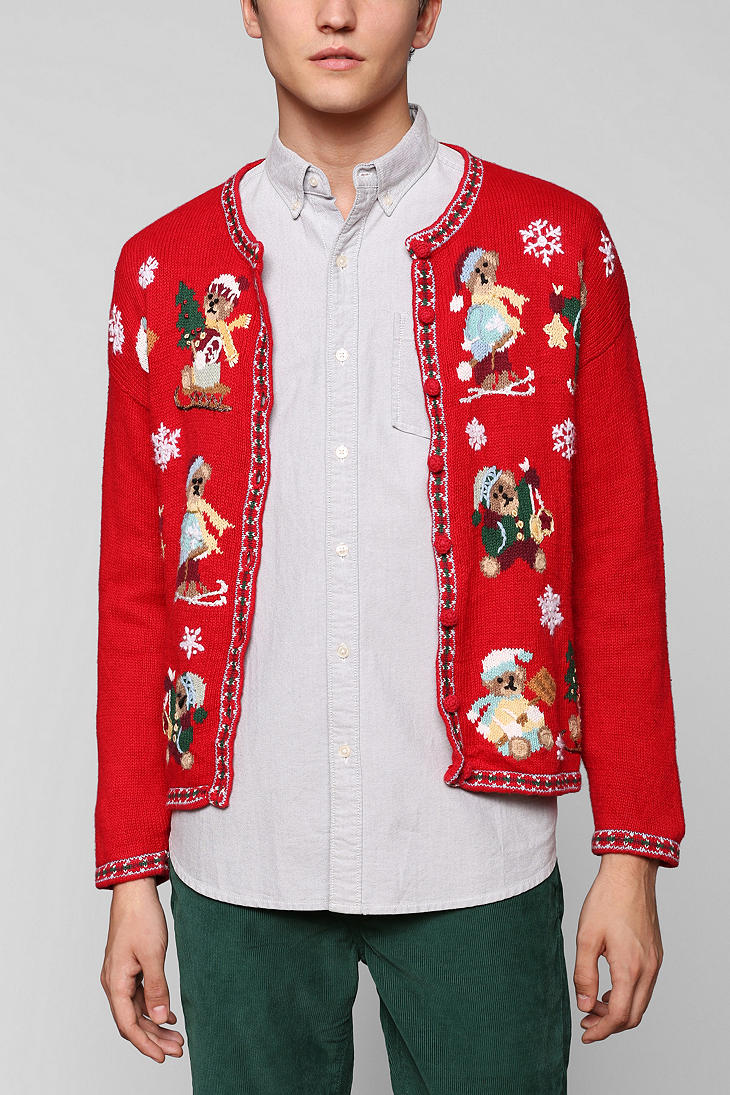 Urban Outfitters Ugly Christmas Sweater.Urban Outfitters Red Urban Renewal Vintage Ugly Christmas Sweater For Men