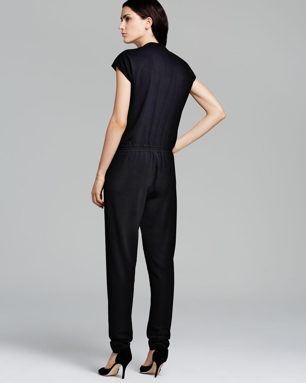 Lyst Vince Jumpsuit Zip Front In Black