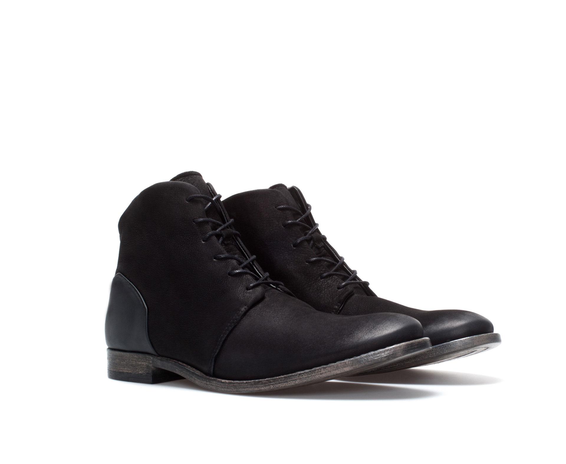 zara work boot in black for men lyst. Black Bedroom Furniture Sets. Home Design Ideas