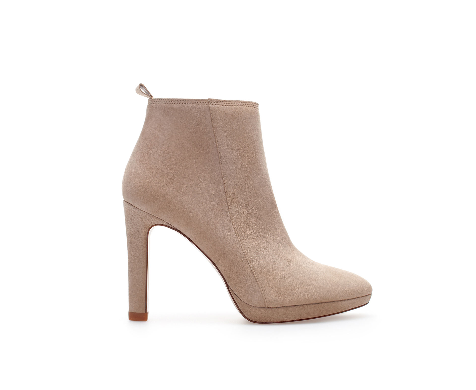 zara ankle boot with suede heel in lyst