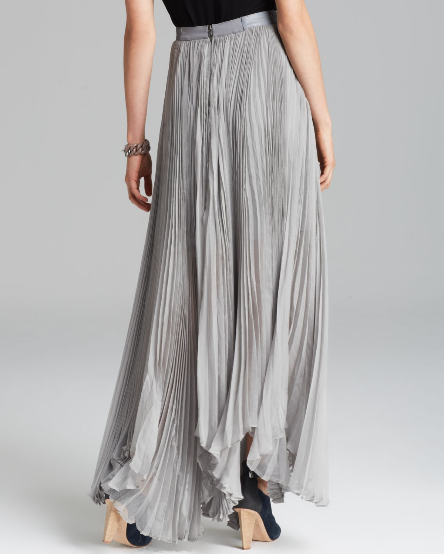 Alice   olivia Maxi Skirt Ava Pleated in Gray | Lyst
