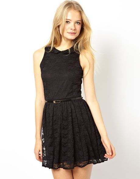 asos skater dress in lace with peter pan collar in black lyst. Black Bedroom Furniture Sets. Home Design Ideas
