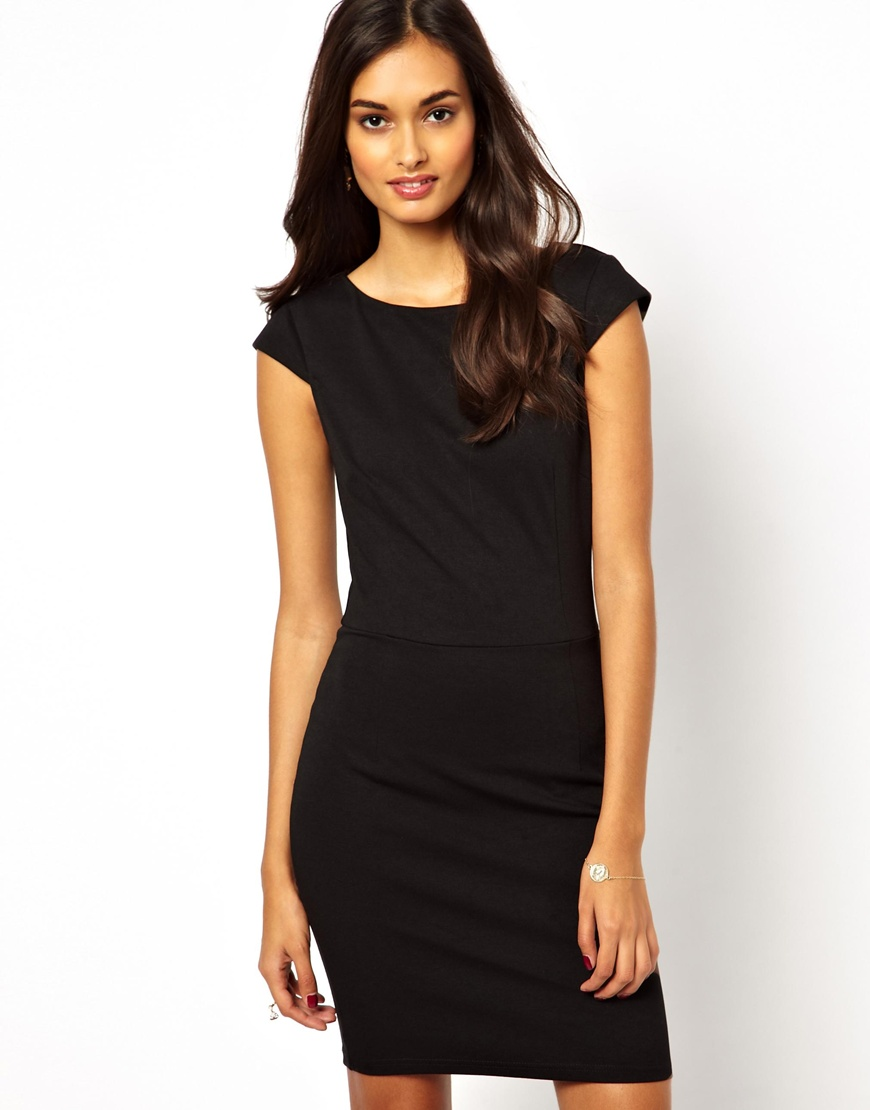 Lyst Ax Paris Bodycon Dress With Cap Sleeves In Black