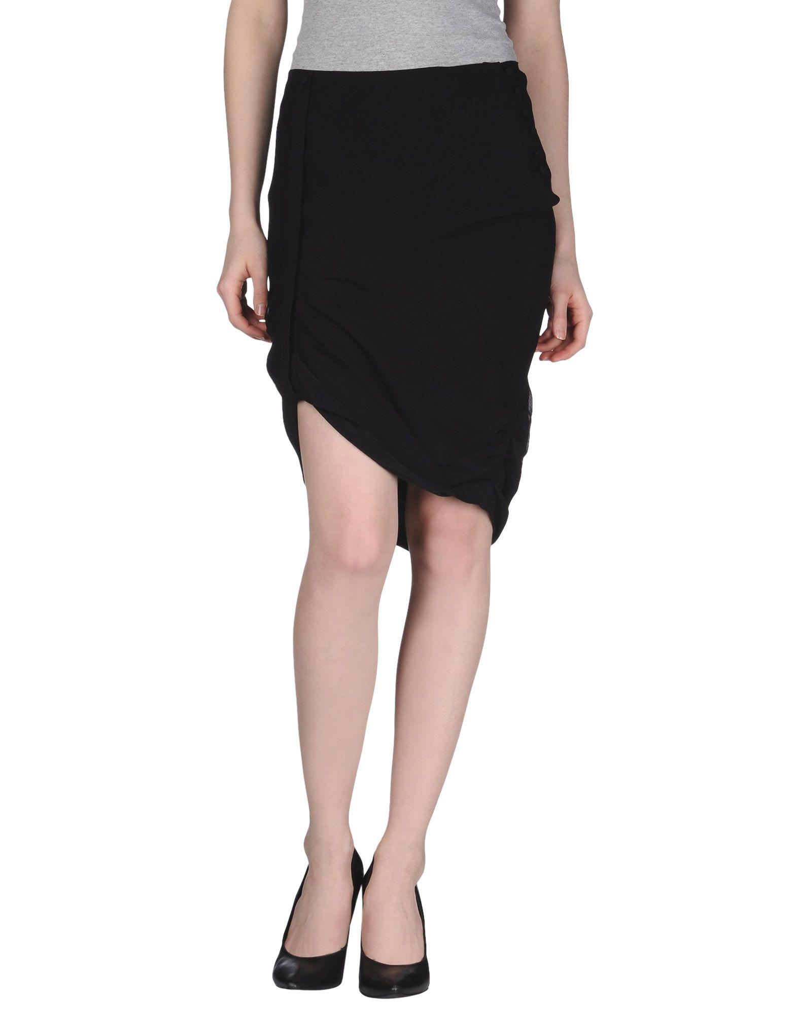 Catherine Malandrino Knee Length Skirt In Black Lyst