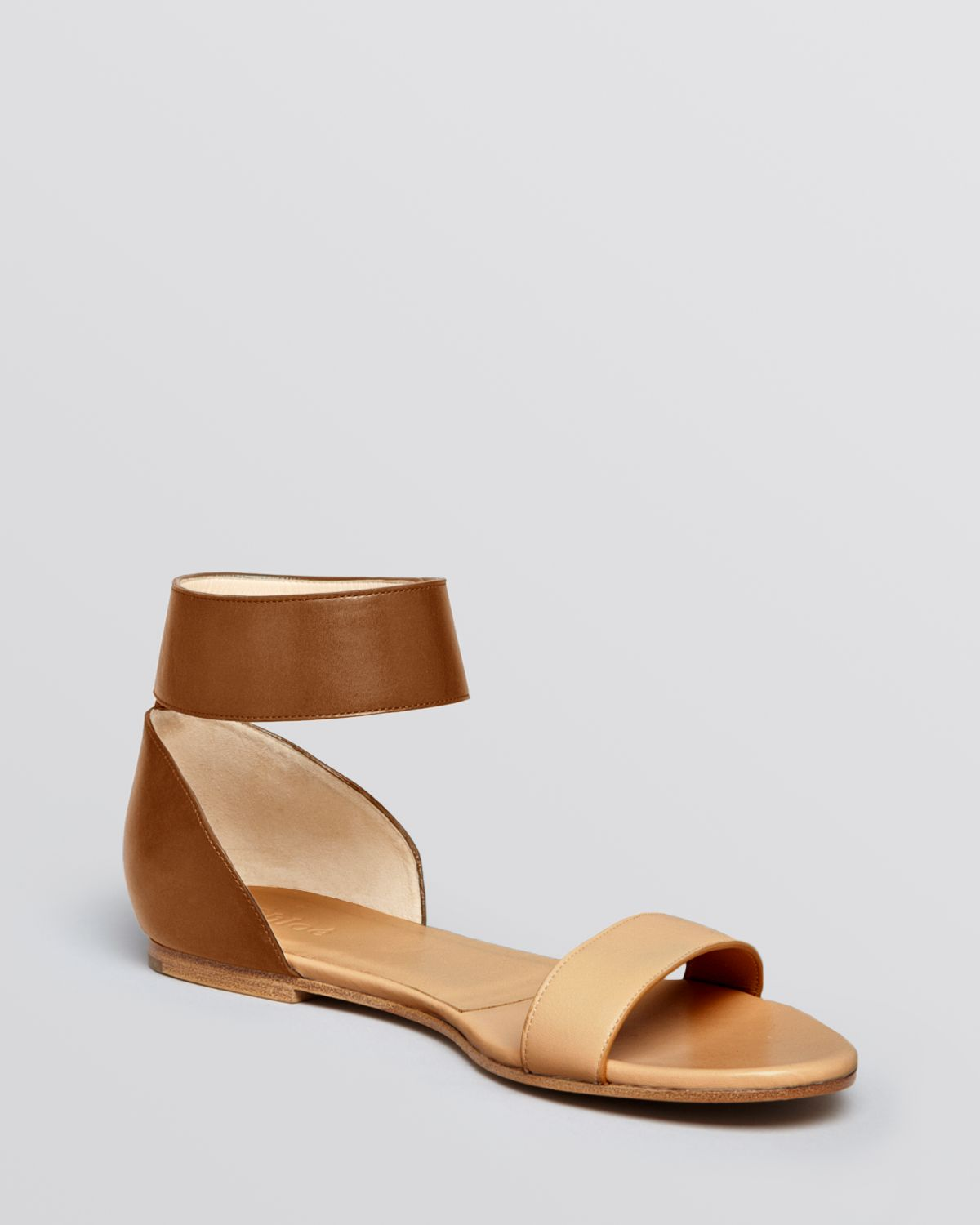 Chlo 233 Flat Sandals Taffy Ankle Strap In Brown Lyst