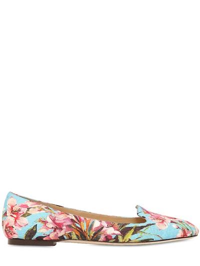 Dolce Amp Gabbana Floral Brocade Loafers In Light Blue Blue