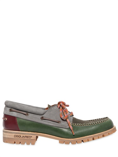 Dsquared2 Leather Multi Color Boat Shoes In Green For Men