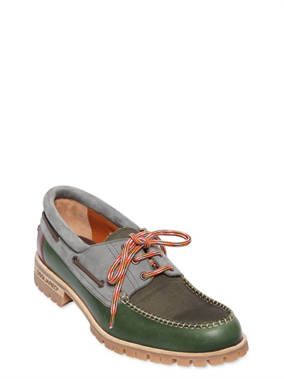 DSquared² Leather Multi Color Boat Shoes in Green/Grey (Green) for Men