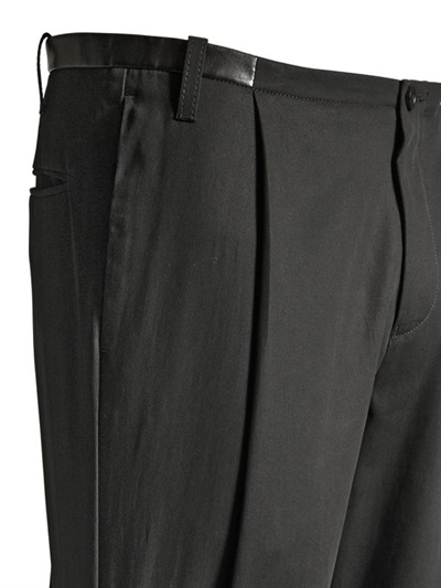 Emporio Armani 175cm Cotton Crepe Trousers In Black For