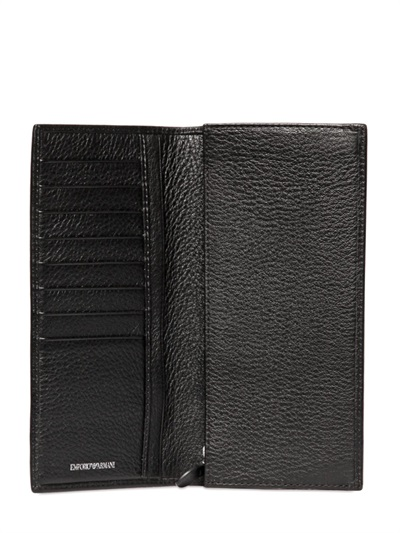 9d41874b90 Emporio Armani Black Hammered Leather Long Wallet for men