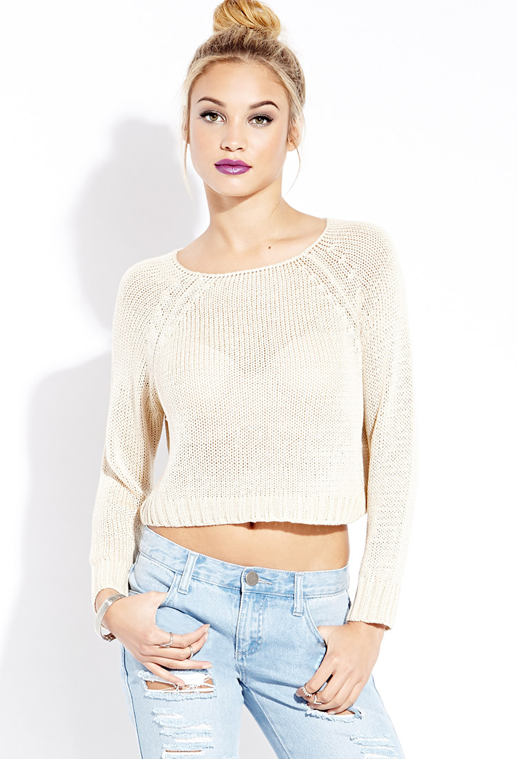 Forever 21 Cool Girl Cropped Sweater in Natural | Lyst