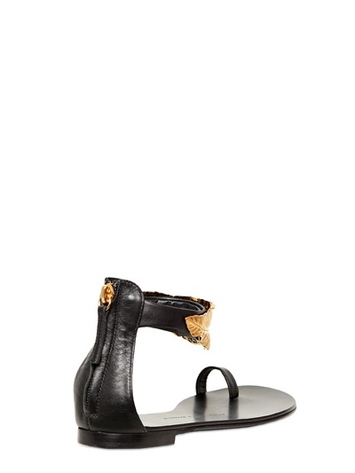 Giuseppe Zanotti 10mm Leather Gold Leaf Sandals In Black
