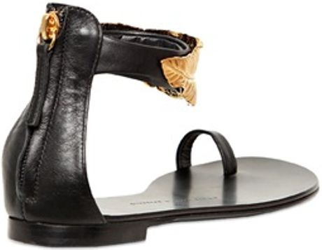 Giuseppe Zanotti 10mm Leather Gold Leaf Sandals In Black