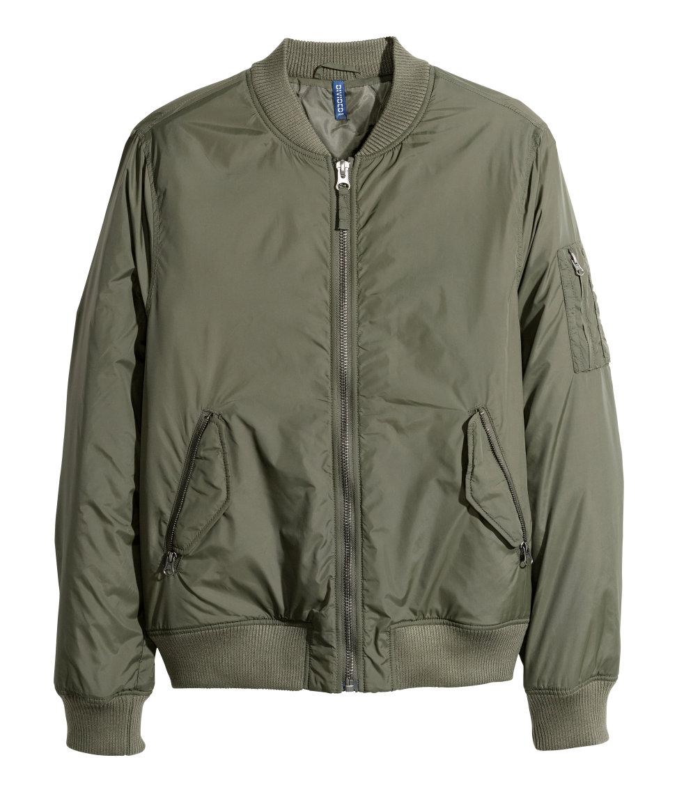 Hu0026m Bomber Jacket In Khaki For Men (Khaki Green) | Lyst