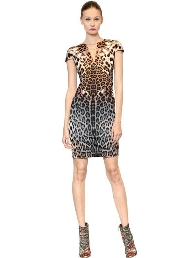 023a0bc698f7f Just Cavalli Leopard Print Thick Jersey Dress in Gray - Lyst