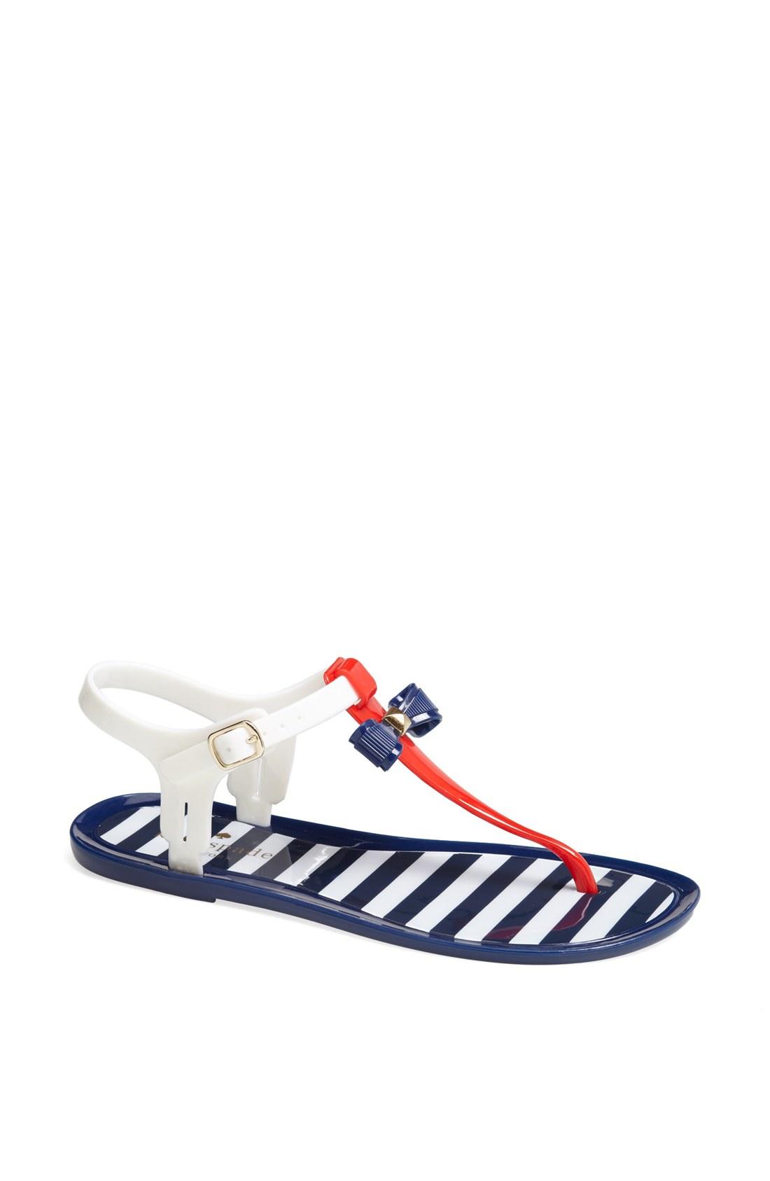 Kate Spade Fresh Jelly Sandal In Blue Red White Navy