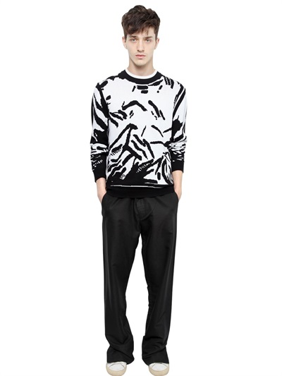 KENZO Crepe Polyester Trousers in Black for Men