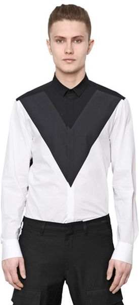 Neil barrett cotton poplin shirt in black for men black for Neil barrett tuxedo shirt