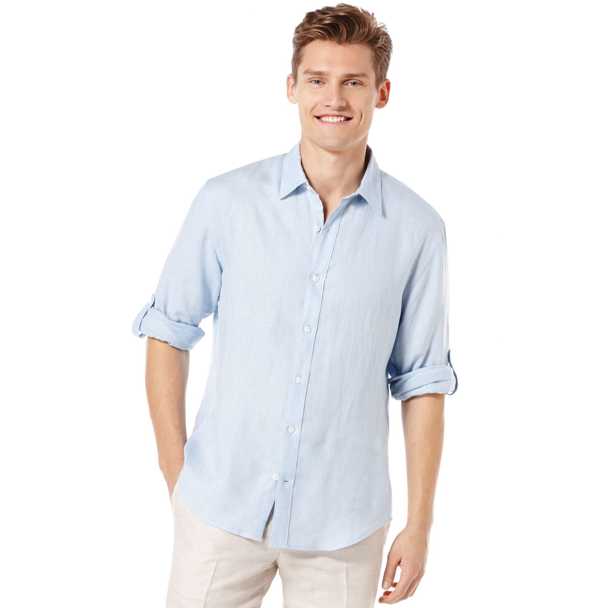 Mens linen button down shirt custom shirt for Mens light blue linen shirt