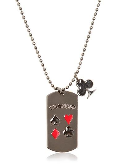 Philipp Plein Metal Plaque Casino Pendant Necklace in Silver (Metallic) for Men